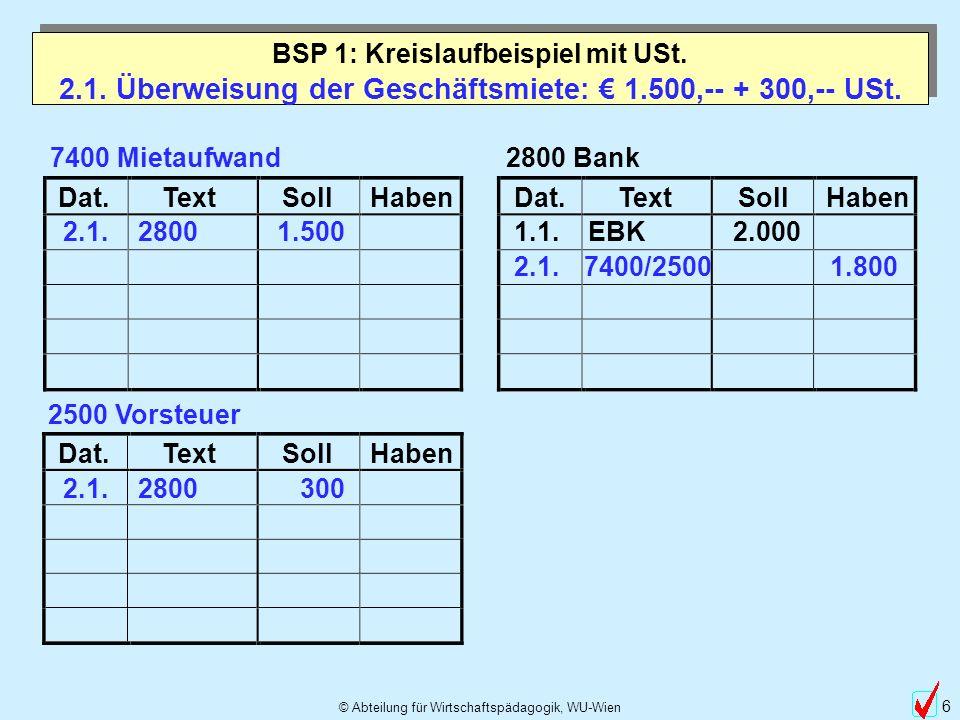 © Abteilung für Wirtschaftspädagogik, WU-Wien 37 Betriebsvermögensvergleich Anfangseigenkapital 38.000,-- - Endeigenkapital 53.000,-- 15.000,-- BSP 1: Kreislaufbeispiel mit USt.