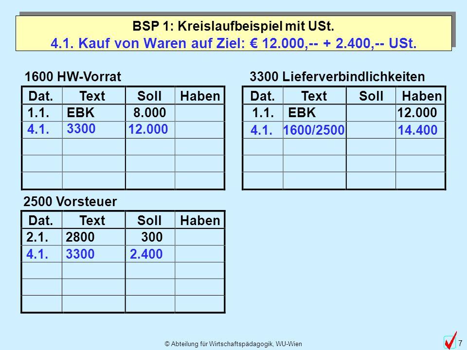 © Abteilung für Wirtschaftspädagogik, WU-Wien 38 Betriebsvermögensvergleich BSP 1: Kreislaufbeispiel mit USt.