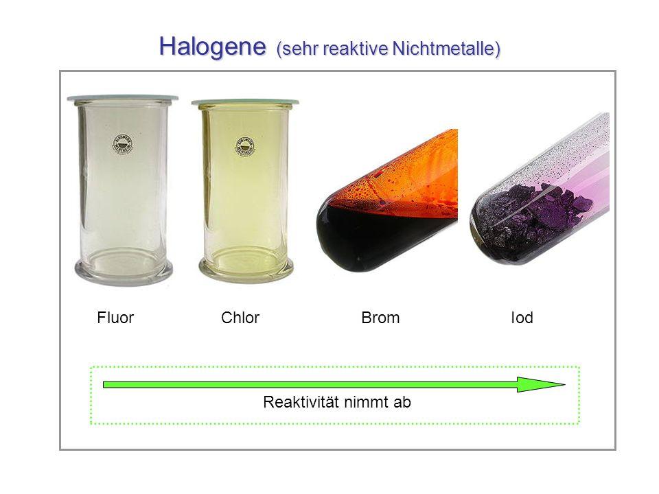 Halogene (sehr reaktive Nichtmetalle) Fluor Chlor Brom Iod Reaktivität nimmt ab