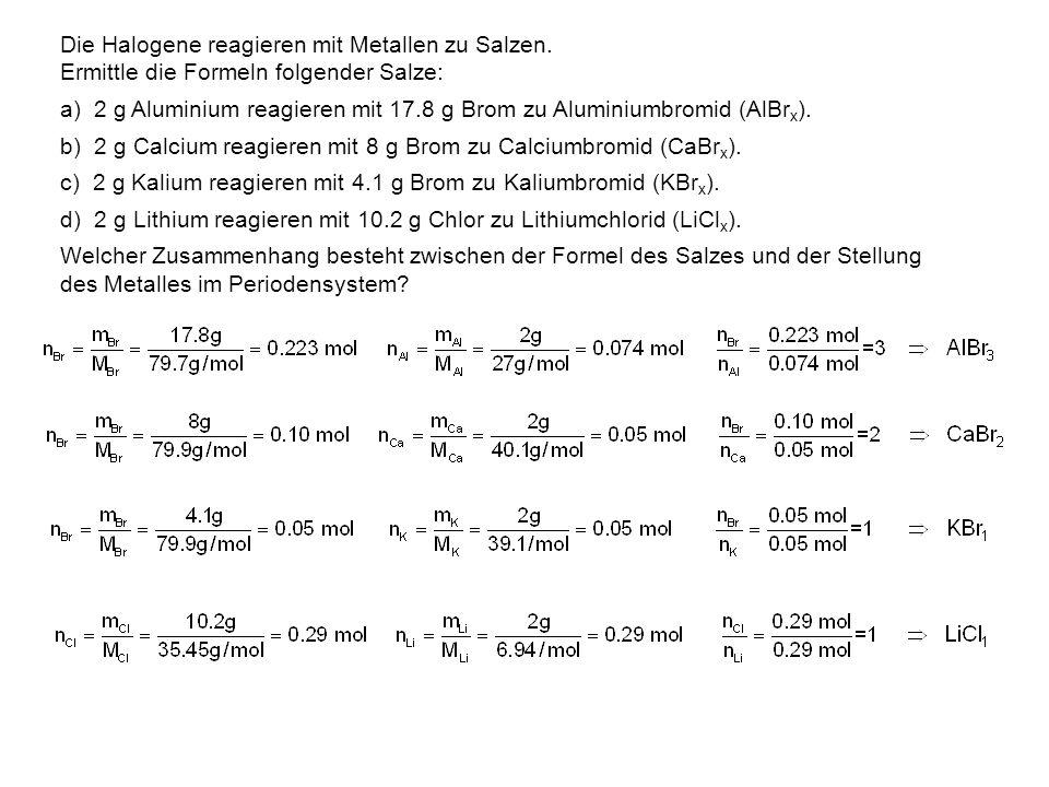 Die Halogene reagieren mit Metallen zu Salzen. Ermittle die Formeln folgender Salze: a) 2 g Aluminium reagieren mit 17.8 g Brom zu Aluminiumbromid (Al