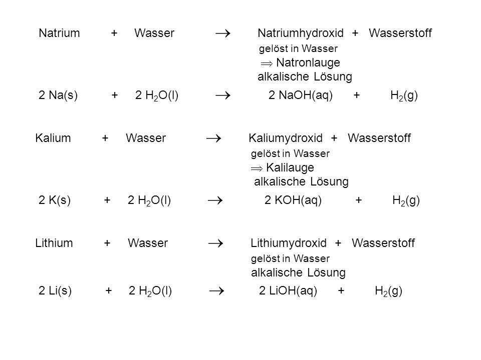 Natrium + Wasser Natriumhydroxid + Wasserstoff gelöst in Wasser Natronlauge alkalische Lösung 2 Na(s) + 2 H 2 O(l) 2 NaOH(aq) + H 2 (g) Kalium + Wasse