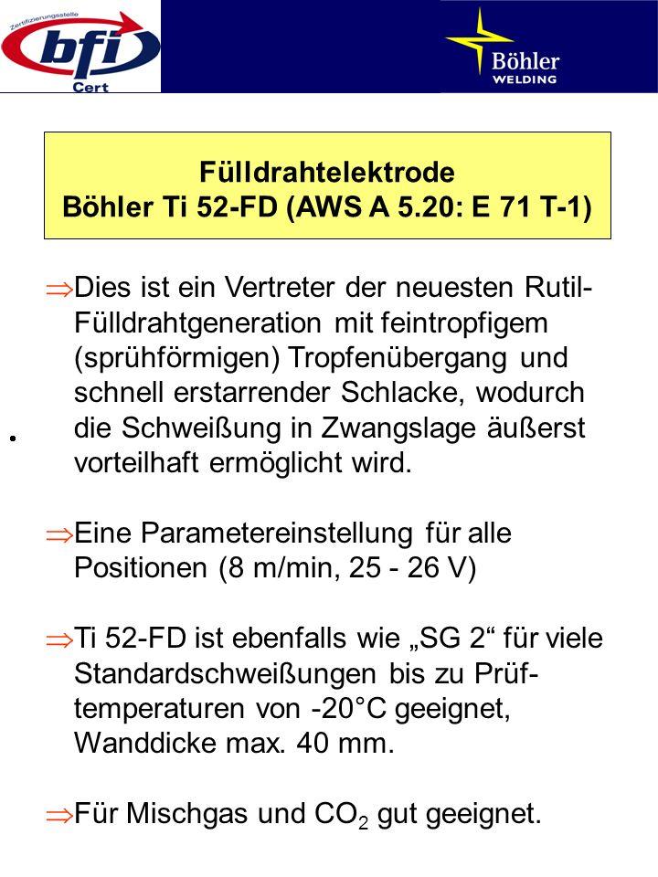 Fülldrahtelektrode Böhler Ti 52-FD (AWS A 5.20: E 71 T-1) Dies ist ein Vertreter der neuesten Rutil- Fülldrahtgeneration mit feintropfigem (sprühförmi