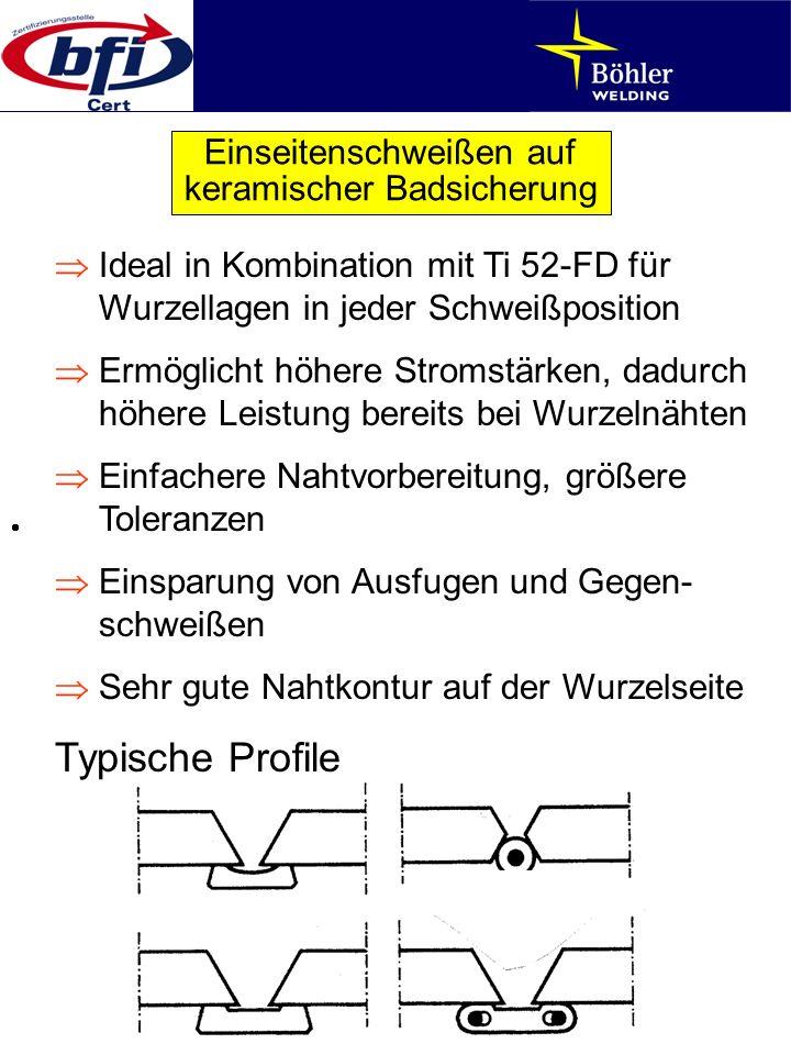 Einseitenschweißen auf keramischer Badsicherung Ideal in Kombination mit Ti 52-FD für Wurzellagen in jeder Schweißposition Ermöglicht höhere Stromstär