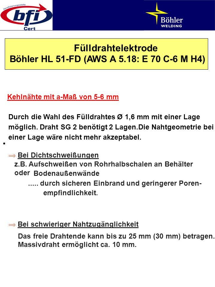 Fülldrahtelektrode Böhler HL 51-FD (AWS A 5.18: E 70 C-6 M H4) Kehlnähte mit a-Maß von 5-6 mm Durch die Wahl des Fülldrahtes Ø 1,6 mm mit einer Lage m