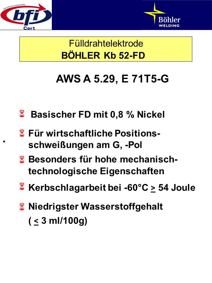 Fülldrahtelektrode BÖHLER Kb 52-FD AWS A 5.29, E 71T5-G Basischer FD mit 0,8 % Nickel Für wirtschaftliche Positions- schweißungen am G, -Pol Besonders