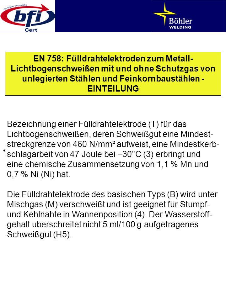 EN 758: Fülldrahtelektroden zum Metall- Lichtbogenschweißen mit und ohne Schutzgas von unlegierten Stählen und Feinkornbaustählen - EINTEILUNG Bezeich