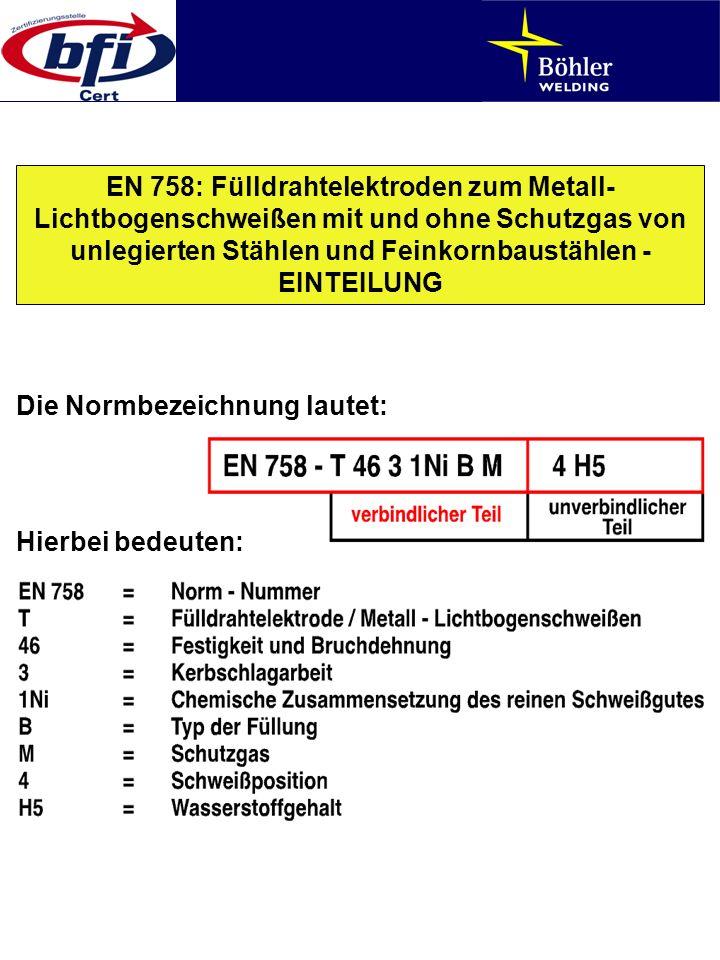EN 758: Fülldrahtelektroden zum Metall- Lichtbogenschweißen mit und ohne Schutzgas von unlegierten Stählen und Feinkornbaustählen - EINTEILUNG Die Nor