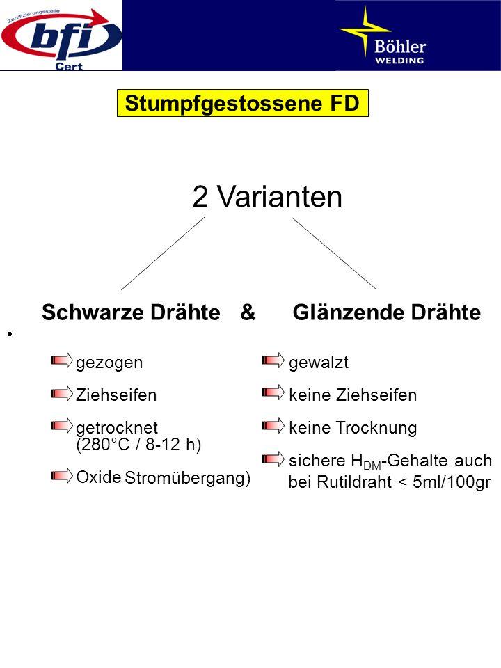Stumpfgestossene FD 2 Varianten Schwarze Drähte&Glänzende Drähte gezogengewalzt Ziehseifenkeine Ziehseifen getrocknetkeine Trocknung (280°C / 8-12 h)