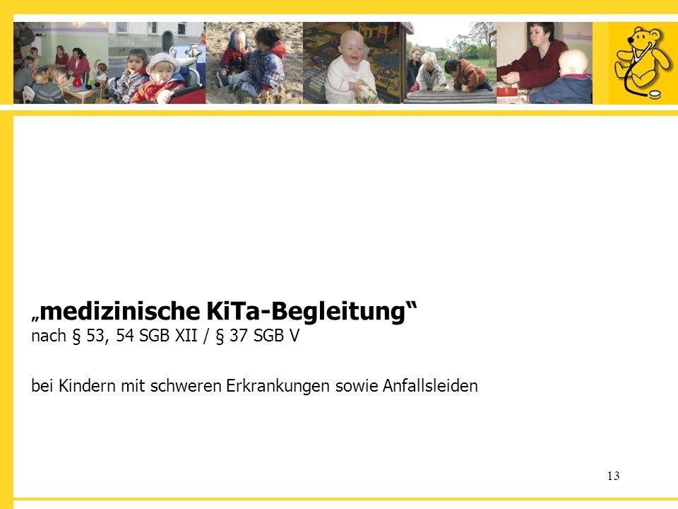 13 medizinische KiTa-Begleitung nach § 53, 54 SGB XII / § 37 SGB V bei Kindern mit schweren Erkrankungen sowie Anfallsleiden