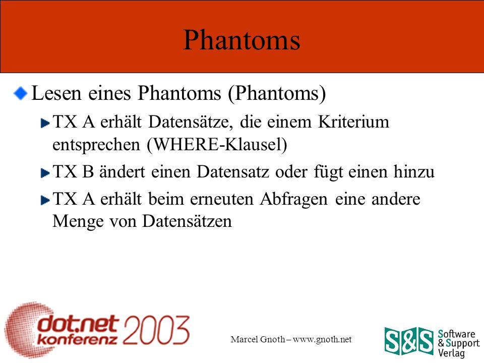 Marcel Gnoth – www.gnoth.net Phantoms Lesen eines Phantoms (Phantoms) TX A erhält Datensätze, die einem Kriterium entsprechen (WHERE-Klausel) TX B ändert einen Datensatz oder fügt einen hinzu TX A erhält beim erneuten Abfragen eine andere Menge von Datensätzen