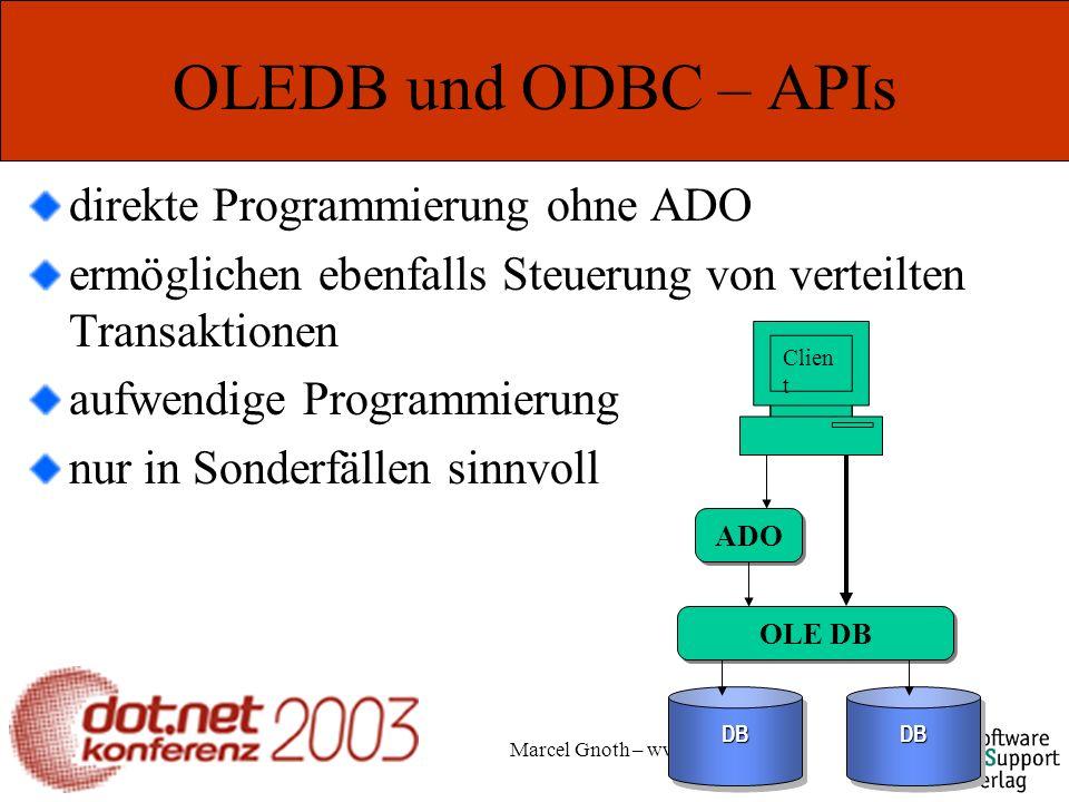 Marcel Gnoth – www.gnoth.net OLEDB und ODBC – APIs direkte Programmierung ohne ADO ermöglichen ebenfalls Steuerung von verteilten Transaktionen aufwendige Programmierung nur in Sonderfällen sinnvoll DBDBDBDB OLE DB ADO Clien t