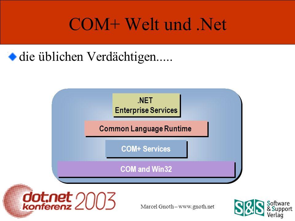 Marcel Gnoth – www.gnoth.net COM+ Welt und.Net die üblichen Verdächtigen.....