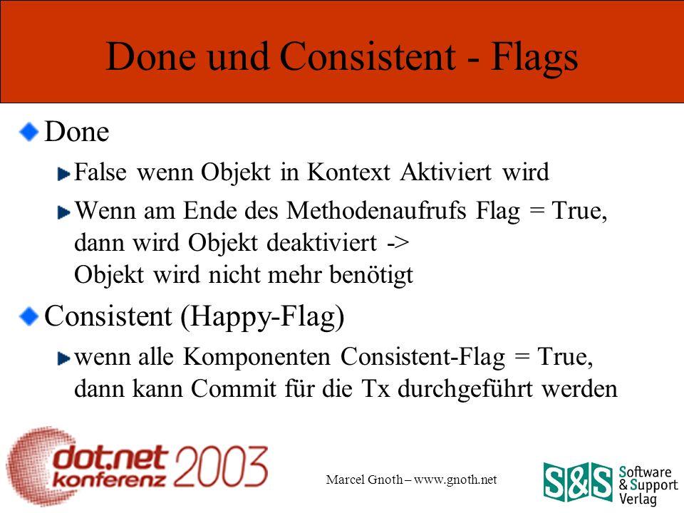 Marcel Gnoth – www.gnoth.net Done und Consistent - Flags Done False wenn Objekt in Kontext Aktiviert wird Wenn am Ende des Methodenaufrufs Flag = True, dann wird Objekt deaktiviert -> Objekt wird nicht mehr benötigt Consistent (Happy-Flag) wenn alle Komponenten Consistent-Flag = True, dann kann Commit für die Tx durchgeführt werden