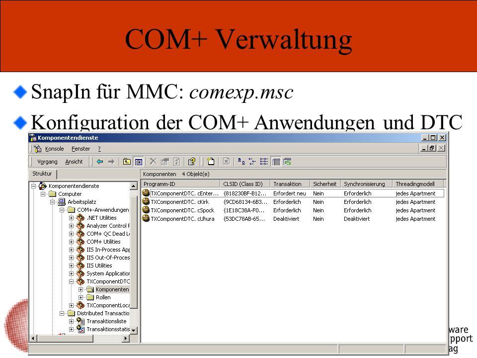 Marcel Gnoth – www.gnoth.net COM+ Verwaltung SnapIn für MMC: comexp.msc Konfiguration der COM+ Anwendungen und DTC