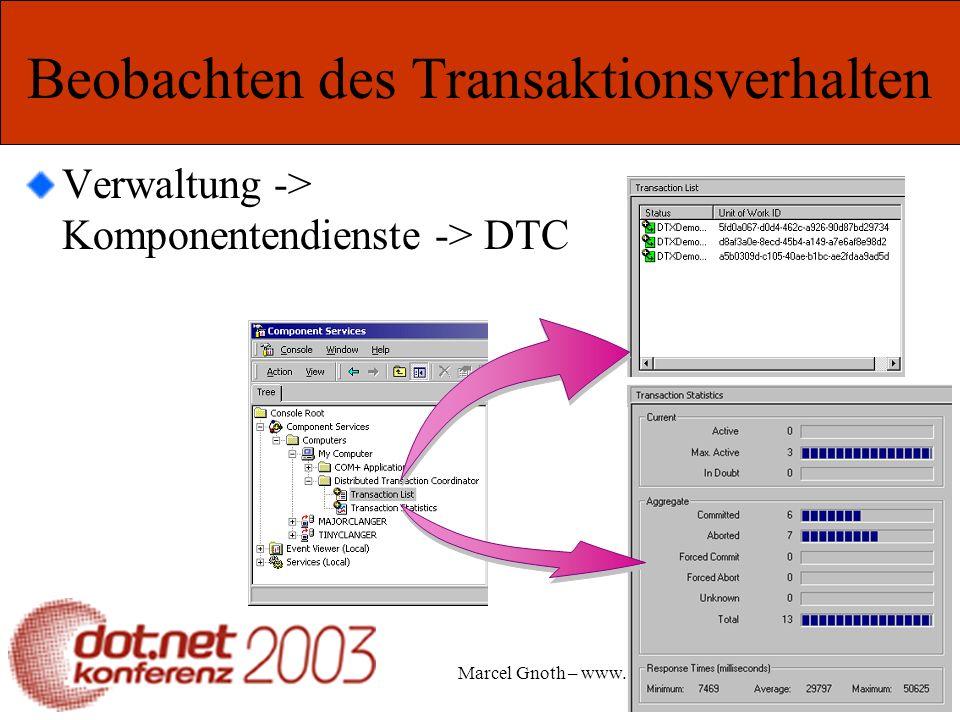 Marcel Gnoth – www.gnoth.net Beobachten des Transaktionsverhalten Verwaltung -> Komponentendienste -> DTC