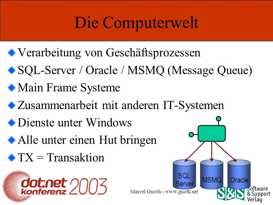 Marcel Gnoth – www.gnoth.net Links EnterpriseServices COM+ Integration: How.NET Enterprise Services Can Help You Build Distributed Applications http://msdn.microsoft.com/msdnmag/issues/01/10/complus/default.aspx Microsoft Official Curriculum, Course 2557A: Building COM+ Applications Using Microsoft®.NET Enterprise Services Performance Comparison: Transaction Control http://msdn.microsoft.com/library/en-us/dnbda/html/bdadotnetarch13.asp