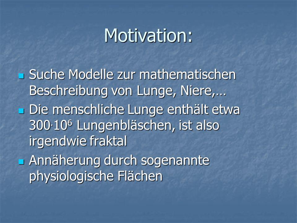 Motivation: Suche Modelle zur mathematischen Beschreibung von Lunge, Niere,… Suche Modelle zur mathematischen Beschreibung von Lunge, Niere,… Die mens