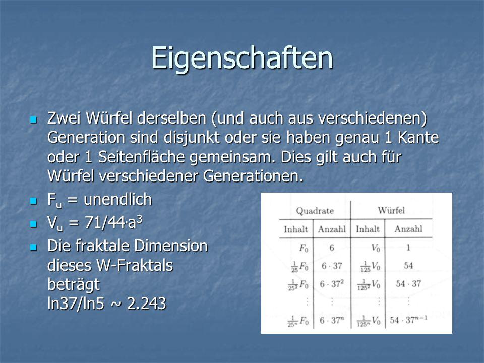 Eigenschaften Zwei Würfel derselben (und auch aus verschiedenen) Generation sind disjunkt oder sie haben genau 1 Kante oder 1 Seitenfläche gemeinsam.