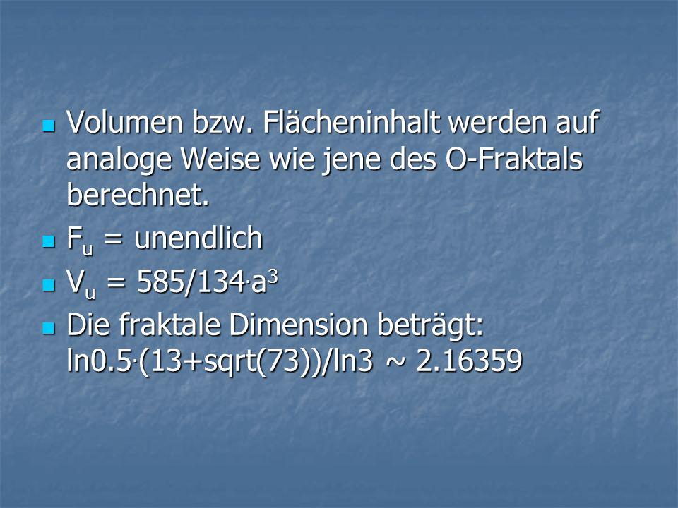 Volumen bzw. Flächeninhalt werden auf analoge Weise wie jene des O-Fraktals berechnet. Volumen bzw. Flächeninhalt werden auf analoge Weise wie jene de