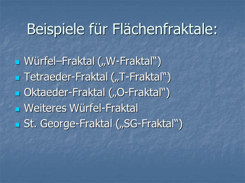 Beispiele für Flächenfraktale: Würfel–Fraktal (W-Fraktal) Würfel–Fraktal (W-Fraktal) Tetraeder-Fraktal (T-Fraktal) Tetraeder-Fraktal (T-Fraktal) Oktae