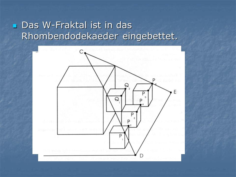 Das W-Fraktal ist in das Rhombendodekaeder eingebettet. Das W-Fraktal ist in das Rhombendodekaeder eingebettet.