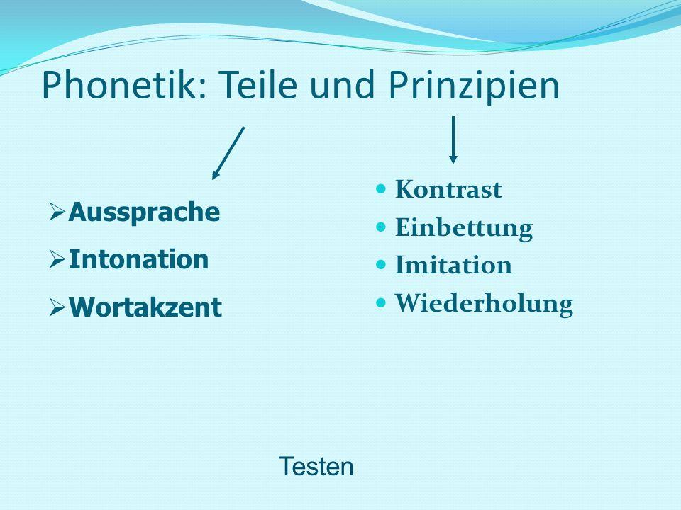 Phonetik: Teile und Prinzipien Kontrast Einbettung Imitation Wiederholung Aussprache Intonation Wortakzent Testen