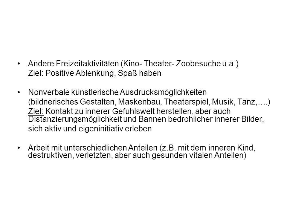 Andere Freizeitaktivitäten (Kino- Theater- Zoobesuche u.a.) Ziel: Positive Ablenkung, Spaß haben Nonverbale künstlerische Ausdrucksmöglichkeiten (bild