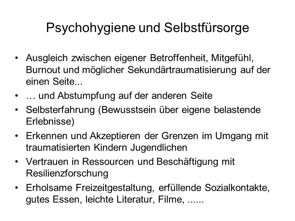 Psychohygiene und Selbstfürsorge Ausgleich zwischen eigener Betroffenheit, Mitgefühl, Burnout und möglicher Sekundärtraumatisierung auf der einen Seit