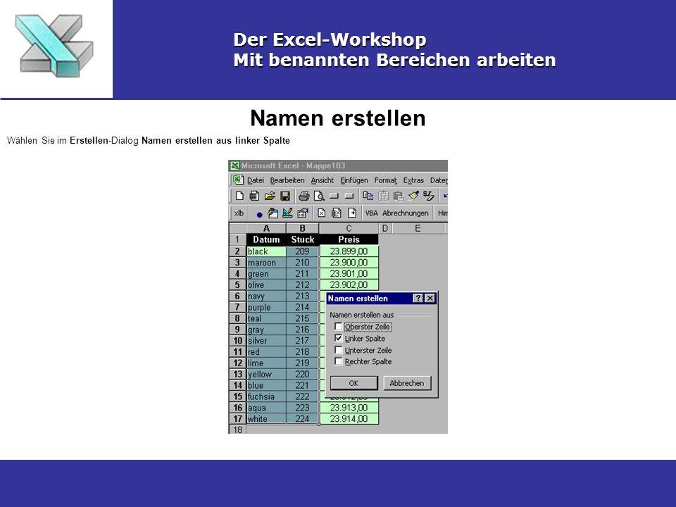 Namen erstellen Der Excel-Workshop Mit benannten Bereichen arbeiten Wählen Sie im Erstellen-Dialog Namen erstellen aus linker Spalte
