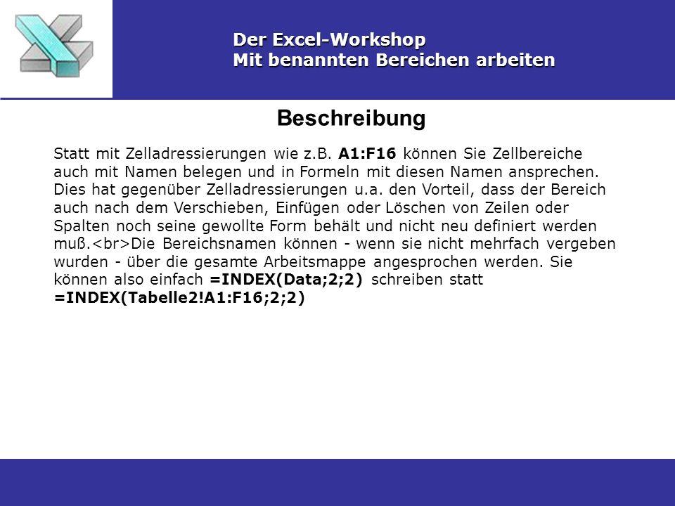 Beschreibung Der Excel-Workshop Mit benannten Bereichen arbeiten Statt mit Zelladressierungen wie z.B. A1:F16 können Sie Zellbereiche auch mit Namen b