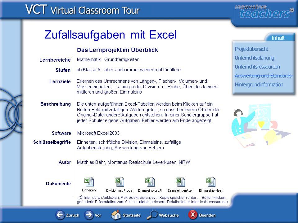 Planung und Management Hintergrund und Planung: Die Excel-Dateien sind anfänglich für eine 5.