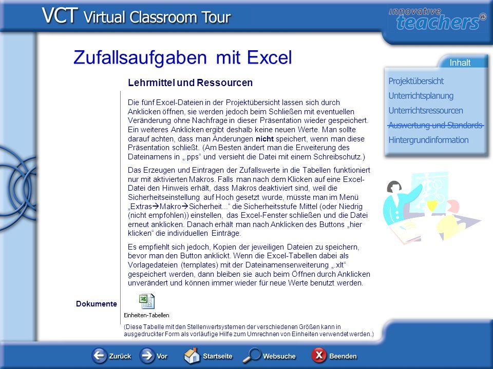 Lehrmittel und Ressourcen Die fünf Excel-Dateien in der Projektübersicht lassen sich durch Anklicken öffnen, sie werden jedoch beim Schließen mit even