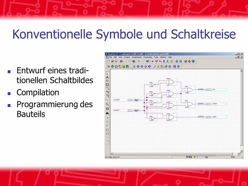 Konventionelle Symbole und Schaltkreise Entwurf eines tradi- tionellen Schaltbildes Compilation Programmierung des Bauteils