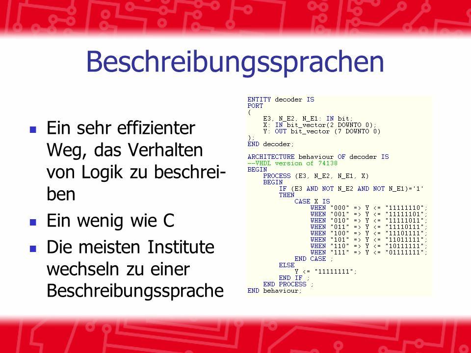 Beschreibungssprachen Ein sehr effizienter Weg, das Verhalten von Logik zu beschrei- ben Ein wenig wie C Die meisten Institute wechseln zu einer Beschreibungssprache