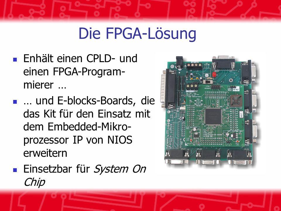 Die FPGA-Lösung Enhält einen CPLD- und einen FPGA-Program- mierer … … und E-blocks-Boards, die das Kit für den Einsatz mit dem Embedded-Mikro- prozessor IP von NIOS erweitern Einsetzbar für System On Chip