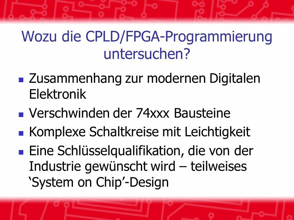 Einige Definitionen CPLD: Complex Programmable Logic Device (Bausteine mit komplexer, programmierbarer Logik) FPGA: Field Programmable Gate Array (Durch Anwender programmierbarer Universalschaltkreis) Beide erreichen Vergleichbares mit verschiedenen Techniken...