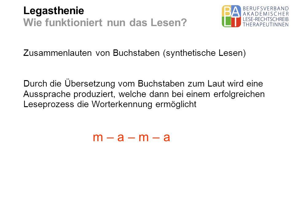 Legasthenie Wie funktioniert nun das Lesen? Zusammenlauten von Buchstaben (synthetische Lesen) Durch die Übersetzung vom Buchstaben zum Laut wird eine
