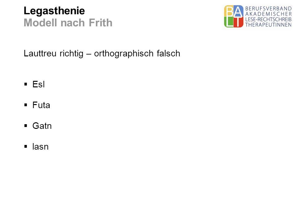 Legasthenie Modell nach Frith Lauttreu richtig – orthographisch falsch Esl Futa Gatn lasn