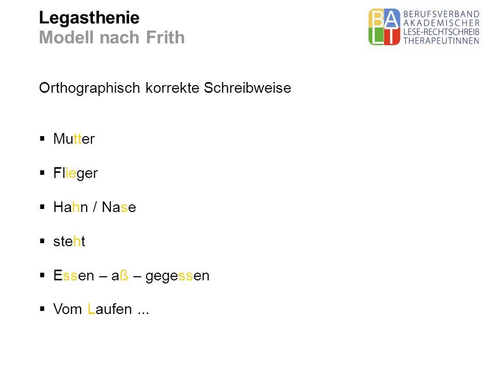 Legasthenie Modell nach Frith Orthographisch korrekte Schreibweise Mutter Flieger Hahn / Nase steht Essen – aß – gegessen Vom Laufen...