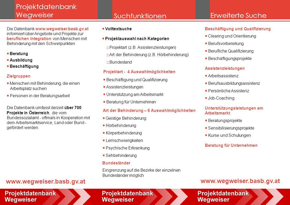 Projektdatenbank Wegweiser Suchfunktionen Die Datenbank www.wegweiser.basb.gv.at informiert über Angebote und Projekte zur beruflichen Integration von