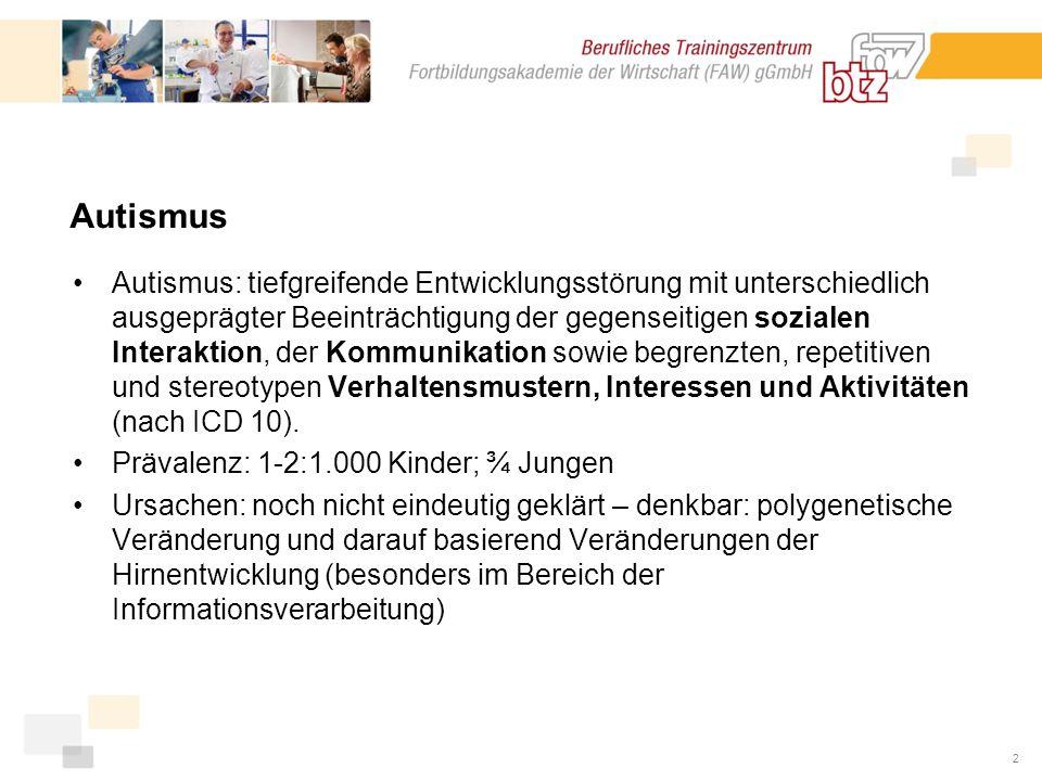 3 Ziel des neuen Angebotes Integration der jungen autistischen Menschen in das bestehende Berufsbildungssystem (ggf.