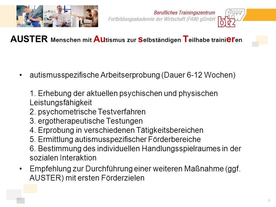 7 autismusspezifische Arbeitserprobung (Dauer 6-12 Wochen) 1.