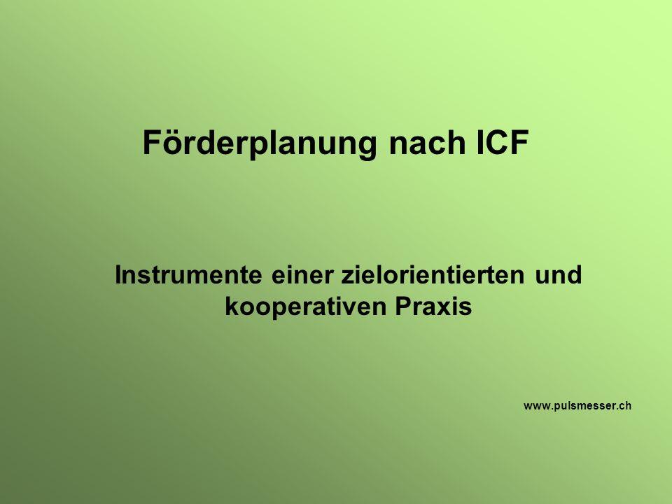 Förderplanung nach ICF Instrumente einer zielorientierten und kooperativen Praxis www.pulsmesser.ch