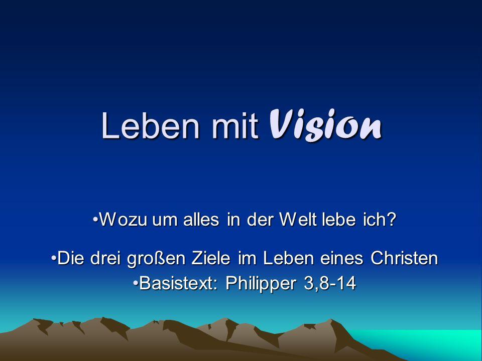Leben mit Vision Wozu um alles in der Welt lebe ich.