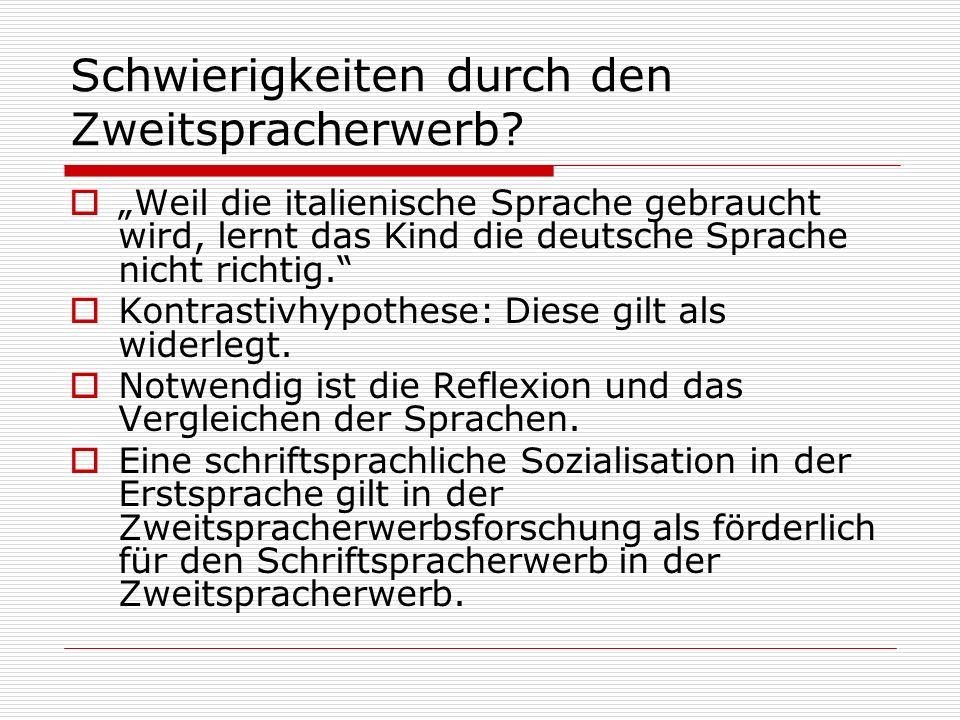 Schwierigkeiten durch den Zweitspracherwerb? Weil die italienische Sprache gebraucht wird, lernt das Kind die deutsche Sprache nicht richtig. Kontrast