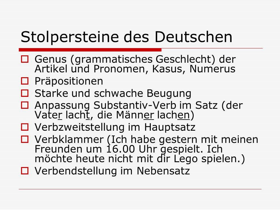 Stolpersteine des Deutschen Genus (grammatisches Geschlecht) der Artikel und Pronomen, Kasus, Numerus Präpositionen Starke und schwache Beugung Anpass