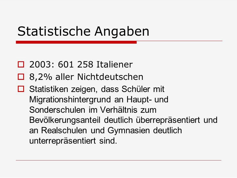 Statistische Angaben 2003: 601 258 Italiener 8,2% aller Nichtdeutschen Statistiken zeigen, dass Schüler mit Migrationshintergrund an Haupt- und Sonder