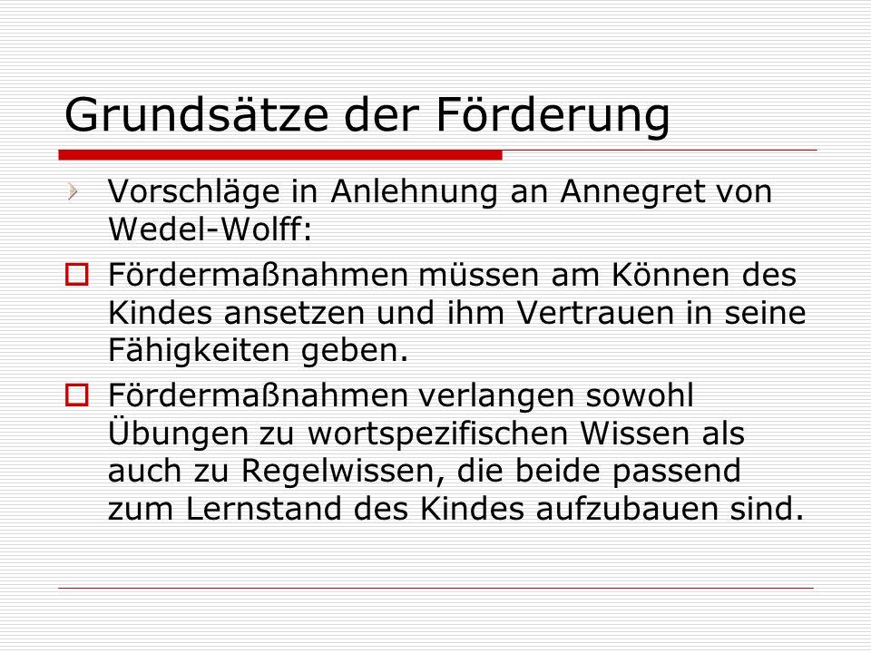 Grundsätze der Förderung Vorschläge in Anlehnung an Annegret von Wedel-Wolff: Fördermaßnahmen müssen am Können des Kindes ansetzen und ihm Vertrauen i
