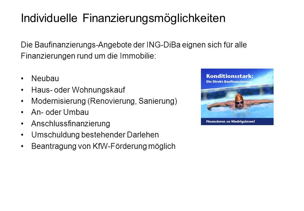 Individuelle Finanzierungsmöglichkeiten Die Baufinanzierungs-Angebote der ING-DiBa eignen sich für alle Finanzierungen rund um die Immobilie: Neubau H