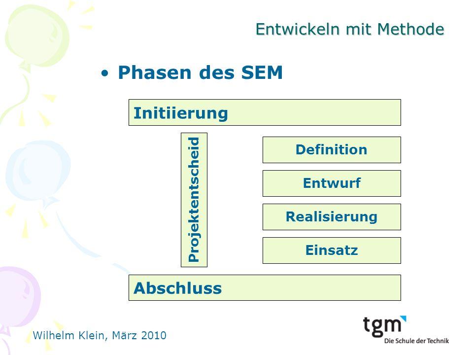 Wilhelm Klein, März 2010 Entwickeln mit Methode Phasen des SEM Initiierung Einsatz Realisierung Entwurf Definition Abschluss Projektentscheid